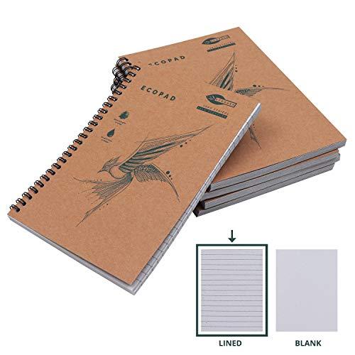 Quaderni Carta Riciclata (5 Pz) - A5 Quaderno Spiralato Blocco Note da 60 GSM 160 Pagine - Quaderno a Righe con Copertina Marrone per Viaggi - Quaderno Ecologico