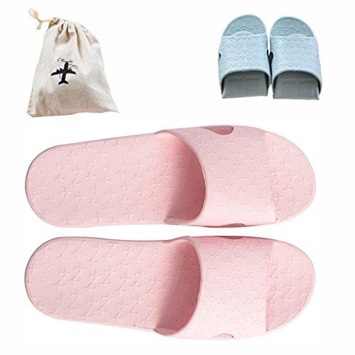 Ciabatte pieghevoli, da viaggio, leggere, antiscivolo, per doccia, piscina, bagno, con borsa in lino inclusa, flodshowerslipperpink38-39, pink, uk women6-7 (25cm 10') 38-39eu
