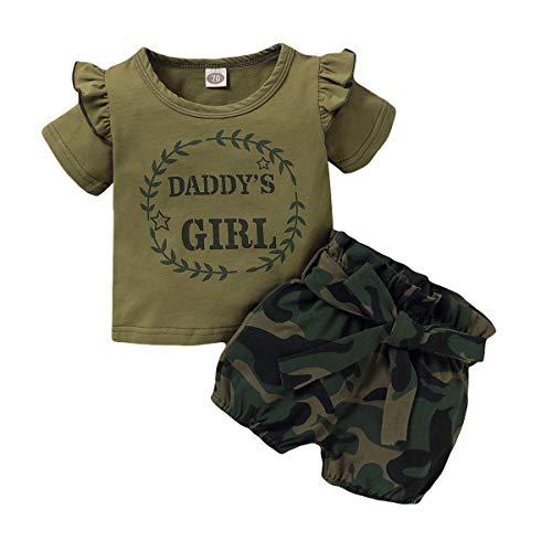 FYMNSI Conjunto de ropa de verano para bebé, diseño de camuflaje, camiseta y falda estampada, 3 piezas / 2 piezas verde militar – Daddy's Girl 0-6 Meses