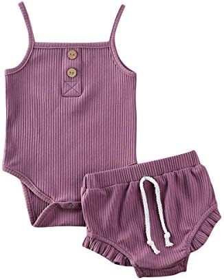 Newborn Infant Baby Girl Knitted Clothes Ruffled Vest Top Shorts Headband 3Pcs Ribbed Outfit product image