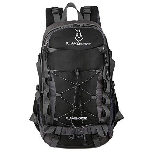 TOMSHOO Mochila de senderismo impermeable de 40 l, para deportes al aire libre, camping, escalada, ciclismo, viajes, para hombres y mujeres, Negro