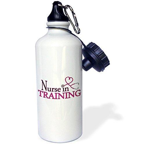 liandun infirmière en formation Cœur Rose Stéthoscope Sport bouteille d'eau, 21oz, blanc