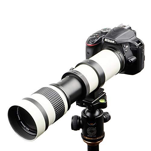 Lightdow 420-800mm f/8.3 Manual Zoom Super Telephoto Lens + T Mount Ring for Nikon D3500 D5600 D7500 D500 D600 D700 D750 D800 D850 D3200 D3400 D5100 D5200 D5300 D7000 D7200 Camera (White Version)