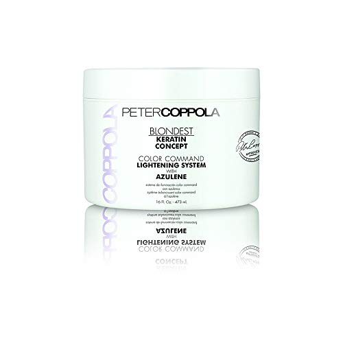 Peter Coppola Blondest Bleach Powder for Hair -Keratin Concept Color Command Lightening System with Azulene - Salon Professional Quality Hydrating Gentle Hair Lightener with Purple Toning Effect, 16oz