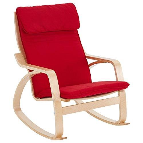 ECR4Kids schommelstoel voor volwassenen, natuurlijk bughout, berkenafwerking met rode kussens
