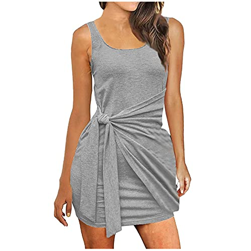 FQZWONG Women's Sexy Bandage Ribbed Dress Slim Fit Sleeveless Pleated Bow Belt Skirt for Dating Holiday Daily(Gray,Small)