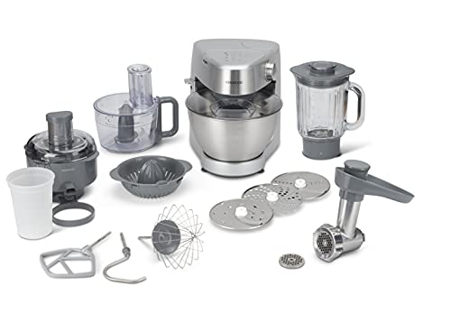 Kenwood Prospero+ KHC29.P0SI - Robot de Cocina Multifunción 1000W, 4,3L, Mezcla, Bate, Amasa, Batidora de Vaso 1.5L, Procesador Alimentos 1.4L, 3 Discos, Exprimidor, Picadora, Licuadora, Plata