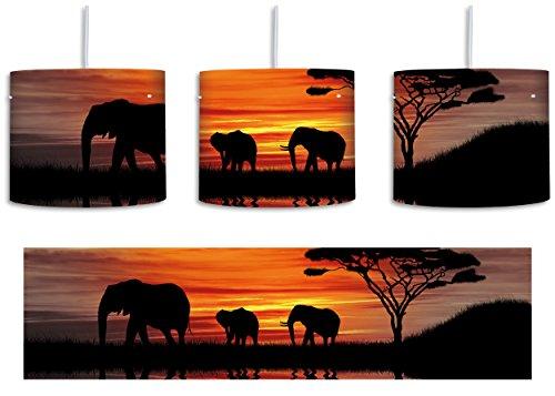 Afrika Elefant in Sonnenschein schwarz/weiß inkl. Lampenfassung E27, Lampe mit Motivdruck, Deckenlampe, Hängelampe, Pendelleuchte - Durchmesser 30cm - Dekoration mit Licht