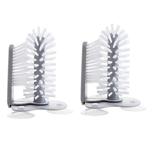 Zliger 2 Stück Gläserspülbürste Spülbürste Kunststoff Reinigungsbürsten Mit Saugnapfboden Glasspülbürste Gläserspülbürsten Gläserbürste für Flasche