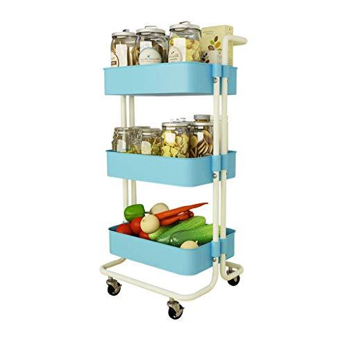 LUISONG FANMENGY Carrito de servir para cocina, carrito de 3 pisos extraíble con ruedas (azul, 87 x 35 x 42 cm)