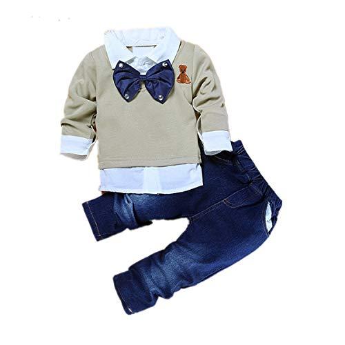 maifeng 2pcs Toddler Baby Boys Bow Tie Shirt Tops + Pantalones de Mezclilla Ropa de Caballero Trajes