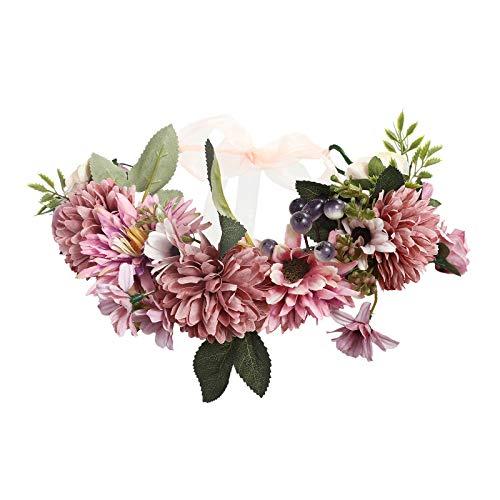 AWAYTR Boho Blumenkrone Stirnband Festival Kopfschmuck - Handgefertigt Blume Haarkranz mit Band Beere Blumenstirnband für Frauen und Mädchen Kleid (Rosa + Lila)