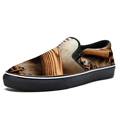 TIZORAX Old Baseballschläger und Handschuh Old Wood Slipper Loafer Schuhe für Frauen Mädchen Fashion Canvas flacher Bootsschuh, Mehrfarbig - mehrfarbig - Größe: 40.5 EU