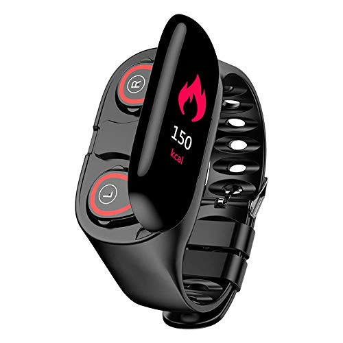 M1 2 in 1 Smart Bracelet Wireless Bluetooth Headset Combo Running Music Wristband Earphone Heart Rate Blood Pressure Fitness Tracker (Black)
