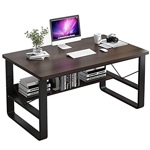 Escritorio de computadora con estante de almacenamiento Mesa para portátil de estudio industrial Estación de trabajo de escritura Escritorio moderno para juegos para la oficina en casa,39.4in/100cm
