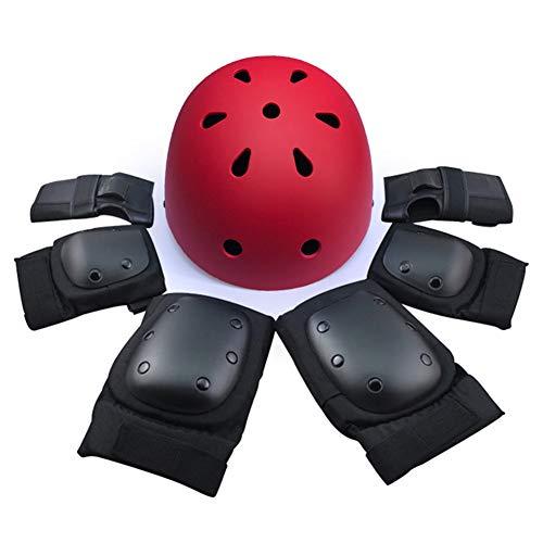 TBATM Helm + Ellbogenschützer + Handballenschutz + Knieschützer, Kinderschutzausrüstung BMX Skating Balancer Roller Rollerblade Radfahren Skateboard für 7St,Red,S