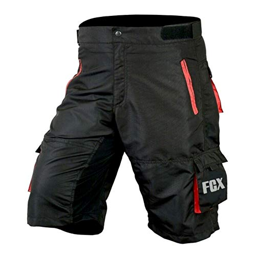 Mens Cycling MTB Shorts Baggy Style Multi Pockets Downhill Mountain Biking Team Bicycle Shorts Free Detachable Padded Liner (Black Red, XXX-Large)