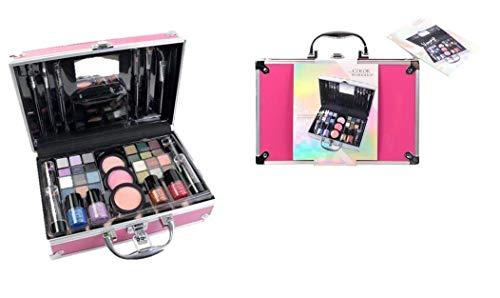 Maletín de Maquillaje Bon Voyage Travel Pink - The Color Workshop - Un Kit de Maquillaje Profesional Completo en un Gran Maletín Rosa Plateado con Espejo Incluido para Llevar Siempre Contigo
