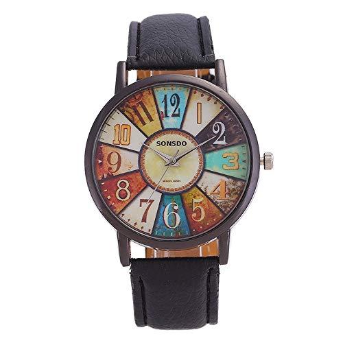 YOFEE WBV AYSMG Retro Personalidad giradiscos Digital PU Correa de Cuero Reloj de Cuarzo (Negro) (Color : Pink)
