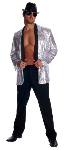 Rubie's Deluxe Men's Sequin Jacket, Silver, X-Large