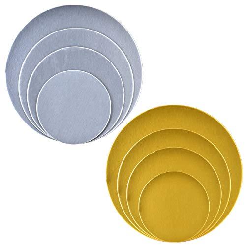 Queta Juego de 8 tablas para tartas de Kuchenplatte tortenplatte, plateado y dorado, 16 cm, 21 cm, 25 cm y 30 cm, para tartas Deko