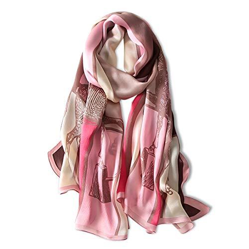 LumiSyne Bufanda De Seda Mujer Fulares Estampada Moda Estilo Arte Popular Chal Cuadrado Grande Estolas Protector Solar Pañuelo Bufanda De Cuello Toda La Temporada