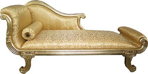Casa Padrino Barock Chaiselongue Modell XXL Gold Muster/Gold- Antik Stil - Recamiere Wohnzimmer Möbel