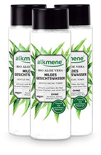 alkmene Gesichtswasser mit Bio Aloe Vera - milde Gesichtsreinigung für alle Haut Typen - vegane Gesichtspflege ohne Silikone, Parabene, Mineralöl, PEGs, SLS & SLES im 3er Vorteilspack (3x 200 ml)