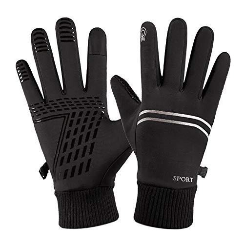 Handschuhe Sport Touchscreen Double Line reflektierende Streifen Männer Winter sowie wasserdichte Outdoor rutschfeste Outdoor-Handschuhe aus Samtbaumwolle