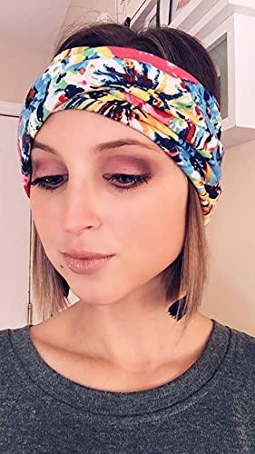 Dreshow - Juego de 4unidades pañuelos trenzados y elásticos para el pelo con un estilo vintage impreso para el sudor - Multi color - talla única
