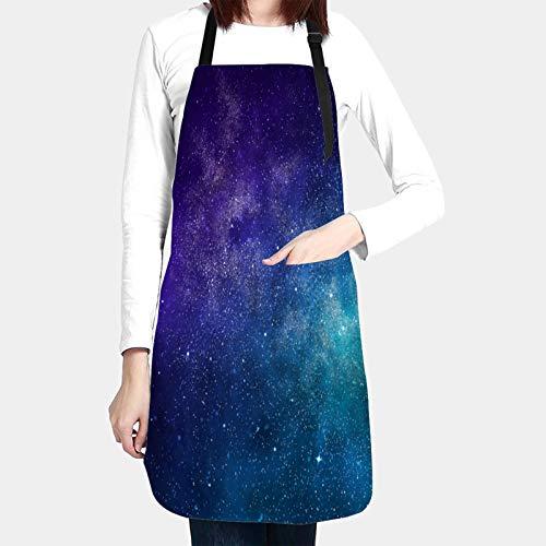 MZTYPLK Delantales de Cocina con Bolsillo,Universo Lleno de Estrellas Nebulosa Galaxia,Delantal Impermeables para Hombre Mujer Delantale para Jardinería Restaurante Barbacoa Cocinar Hornear