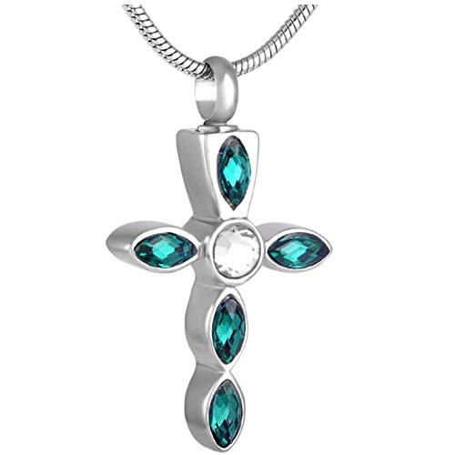 GenericBrands Collar Mujer Color Diamante de imitación Cruz de Cristal Colgante de urna de cremación con Encanto de Acero Inoxidable
