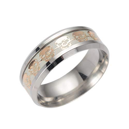 kebaner para hombre 8mm titanio diseño de calaveras diseño de anillo de luminosa Cool banda brilla en la oscuridad tamaño 7–13