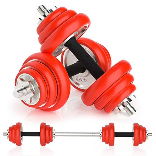 Sehrgo 2in1 Hanteln Set mit Silikonüberzug, Kurzhanteln 2er Set Kurzhanteln & Langhantel in einem für Krafttraining Fitness
