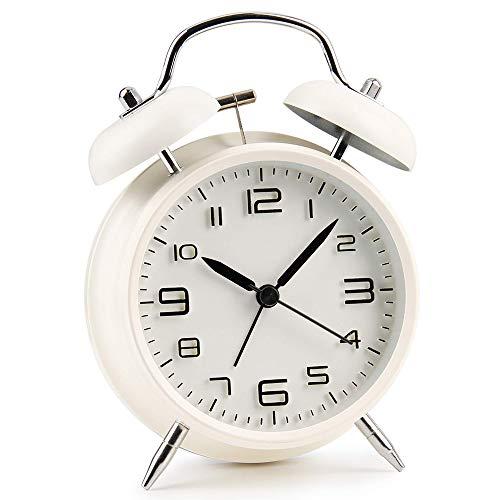 AndThere Sveglia Doppia Campana Vintage Sveglia Metallo Forte Allarme con Luce Notturna Alarm Clock Quarzo Silenzioso Senza Ticchettio Orologio Analogica da Bambini Comodino Tavolo Letto Casa Viaggio