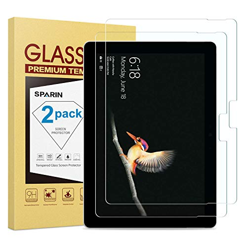 SPARIN [2 Pack] Surface Go Screen Protector, [Tempered Glass] [High Responsive] [Scratch Resistant] Screen Protector for Microsoft Surface Go (10 Inch, 2018 Release)