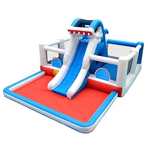 TXOZ-Q [Versión actualizada] inflable habitación gorila, Parque del Castillo con tobogán, trampolín piscina, Boca del tiburón del agua de spray de diseño, soplador, Hogar del patio trasero del escolta