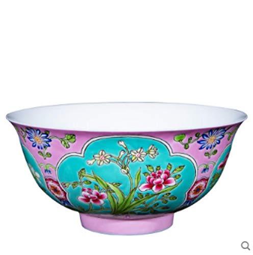Sammler Nachahmung Sotheby's Qing-Dynastie Kangxi Jingdezhen Guan Brennofen Rosa Grund Emaille Blume Keramik Reis Schüssel Tee-Set