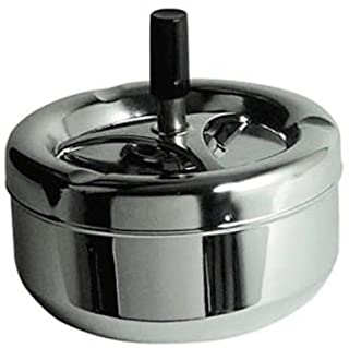 Premier Housewares 305202 Ash Tray Small Silver Outdoor Ashtray Chrome Outdoor Ashtray with Lid for Cigarettes Fancy Ashtr...