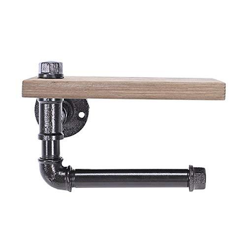 Soporte de papel rollo baño Soporte de rollo de inodoro Multifunción de estilo retro de hierro de hierro montaje en pared Toalla de papel Rack con estante de almacenamiento de madera ( Color : BLACK )