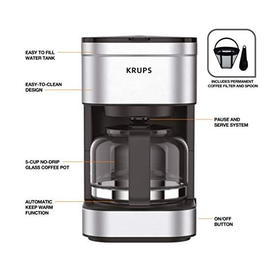KRUPS Simply Brew Compact Filter Drip Coffee Maker, 5-Cup, Silver 4 PERFECT FOR 1 OR 2: Brews up to 5 cups of coffee/ 750 ml/ 25 fl ounces. CONVENIENT: Allows you to pour a cup of coffee while brewing and automatically keeps your coffee warm. SIMPLE AND EASY TO USE: Coffee pot with no drip spout, which controls the mess; easy On/Off button to start brewing and turn off the brewer; and a conveniently located water tank.