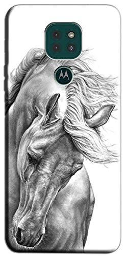 Mixroom - Schutzhülle Back Hülle aus weichem TPU Silikon für Motorola Moto E7 Plus Muster Pferd Weiß & Schwarz M597