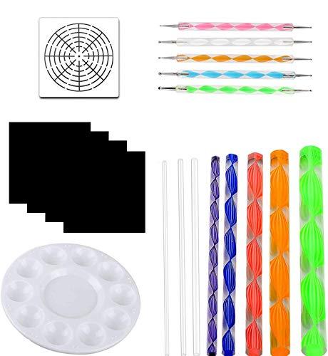 OOTSR 19 piezas juego de herramientas de pintura, herramientas de puntos de mandala para pintura rupestre, patrón de madera, arte de pared, manualidades para niños, diseño de uñas