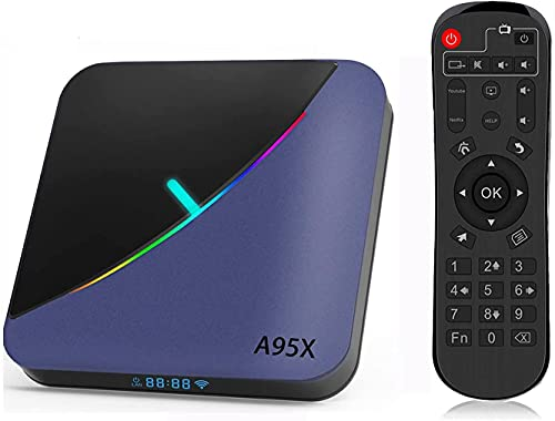 A95X TV Box Android 9.0【4GB RAM+64GB ROM】 8K*4K Quad-Core Cortex-A55 Amlogic S905X3 Bluetooth 4.2 Dual Band WiFi 2.4G/5GHz Ethernet 10/100M USB 3.0 Android Smart TV Box