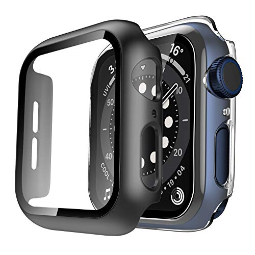 Tauri 2 Pack Hard Case Compatible for Apple Watch SE Series 6 5 4 40mm Built in 9H Glass Screen Protector Slim Bumper Touch Sensitive Full Protective Cover Compatible for iWatch 40mm - Clear+Black