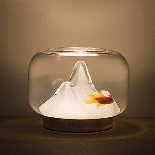 Noche de la lámpara de cristal montaña noche luz del acuario USB, dormitorio de decoración de interior Mesita de luz de la lámpara de la sala de regalo de los niños
