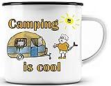 Tazza smaltata da campeggio divertente – regalo per campeggio o tazza per fantastico camper/idea regalo per gli amanti del campeggio, campeggio is cool roulotte – bordo nero