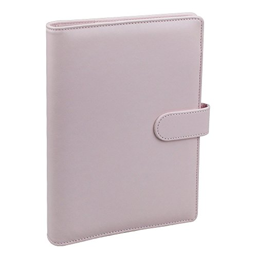 A5 PU Leather Notebook Binder,Refillable 6 Round Ring Binder Cover for A5 Filler Paper,Macaron Notebook Personal Planner Binder with Magnetic Buckle,Pink