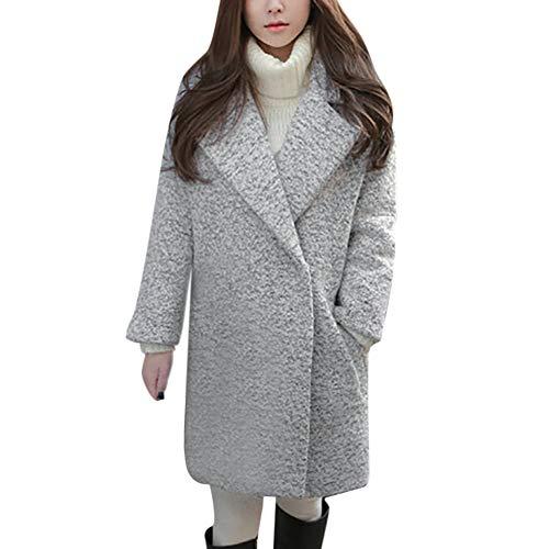 VEMOW Damen Herbst Winter Elegante Cashmere-Like Dicker Jacke Outwear Parka Cardigan Casual Täglichen Business Schlank Mantel(X2-b-Grau, EU-42/CN-2XL)