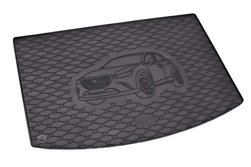 Passgenau Kofferraumwanne geeignet für Mazda CX-3 ab 2015 ideal angepasst schwarz Kofferraummatte + Gurtschoner